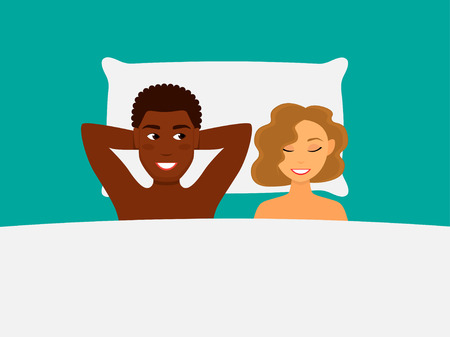 illustration of a happy couple  in bed. African american man and white  woman intermarriage.
