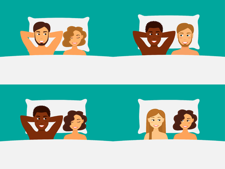 Happy couple in bed Set. Vector illustration.
