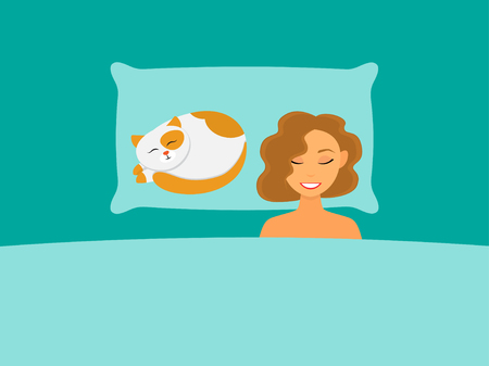 A girl and a cat sleep in bed. Vector illustration.