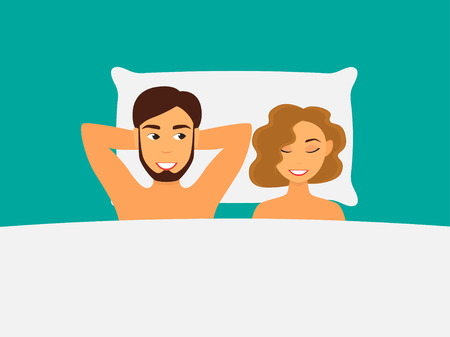 Vector illustration of a happy couple man and woman in bed
