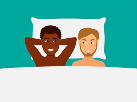 Vectorillustratie van een gelukkig paar in bed. Afro-Amerikaanse man