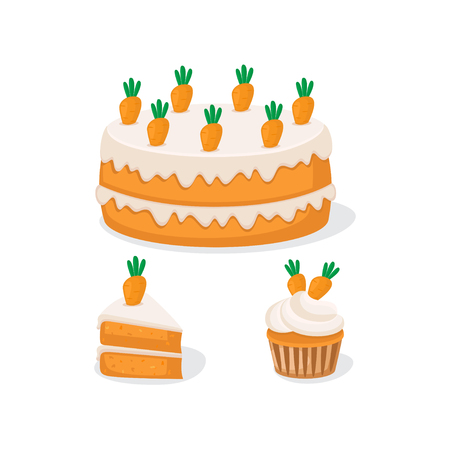 Vector illustration of carrot cake and cupcake