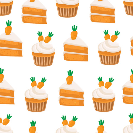 Carrot Cupcakes seamless pattern. Vector background.