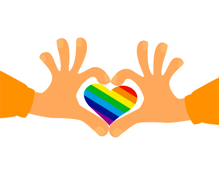 Hands in the form of heart holds a heart painted like a LGBT flag.  Vector illustration.