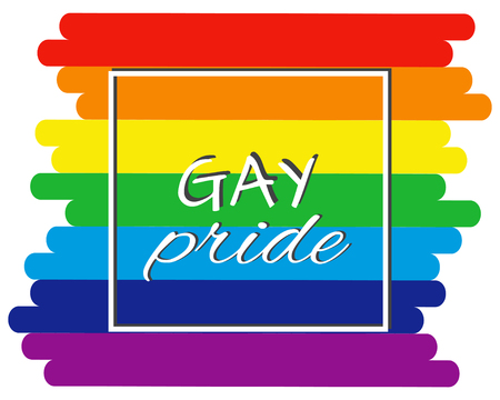 Gay pride card, text Gay pride on background flag colors. Vector illustration