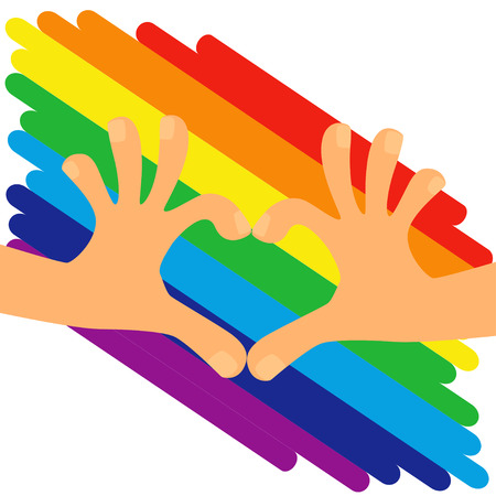 Hands making a heart on rainbow LGBT flag background. Vector illustration.