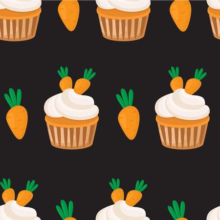 キャロットカップケーキシームレスパターン。ベクターの背景。 写真素材 - 104438950