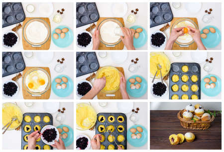 step by step recipe for muffins with black currants . preparing the dough, mixing the ingredients of flour, butter, sugar, eggs, vanilla, currant. the view from the top . cupcakes with currant filling.