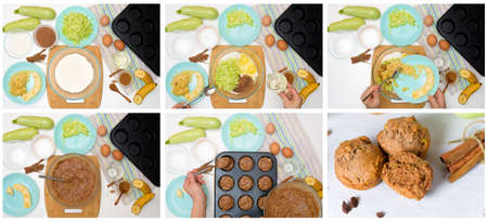 step by step recipe and ingredients for chocolate muffins with zucchini and banana. wet veggie cupcakes home-made, top view on a light background. the process of cooking muffins. Stok Fotoğraf