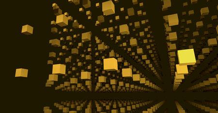 Golden cubes in 3D. Infinite gridded pattern. 3d illustration. render