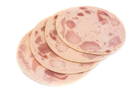 Ham beer sausage mortadella isolated white background Stock Photo - 105788116