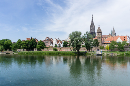 Panorama cityscape of Ulm in Baden Wuerttemberg in Germany at blue sky Imagens