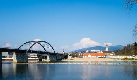 Panorama city view Deggendorf with bridge in Bavaria Germany