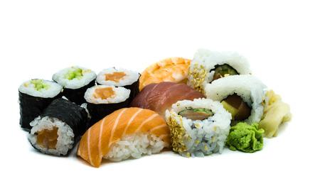 Mix salmon tuna and prawn nigiri sushi maki hoso-maki isolated on white background Stock Photo