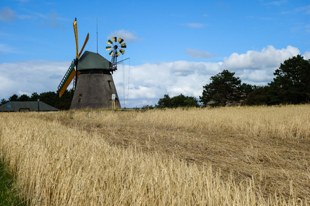 Windmill on the island Amrum in the North Sea, Germany Stock Photo