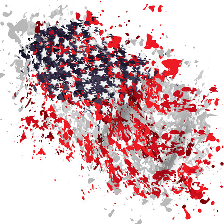 spangled: a stylized image of the American flag, red, blue, white and gray spots, grunge, stars Illustration