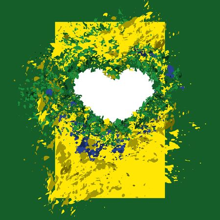 brazilian flag: abstract background Brazilian flag colors, summer colors, heart Illustration