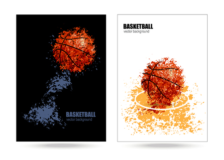 vector poster, cover a basketball game
