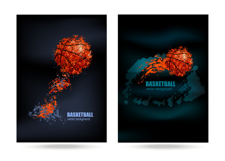 nba: vector illustration of a basketball on a black background, a poster for a basketball game, grunge frame