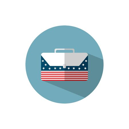 vector, business icon, briefcase with American flag, flat