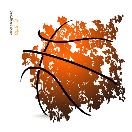 vector illustration with a basketball, basketball game, grunge style (cover, flyer, poster)