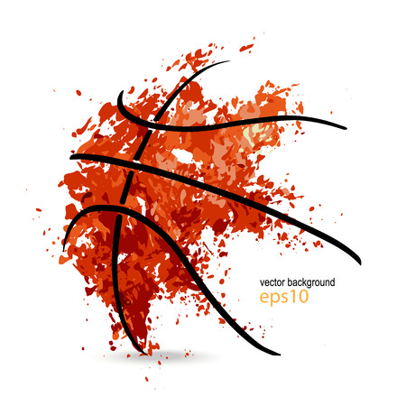abstracte achtergrond, basketbal, symbool, grunge bal, zwarte lijnen