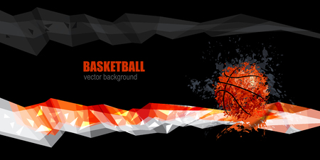 grunge banner: design for basketball banner, Polygonal white, orange, gray, grunge ball Illustration