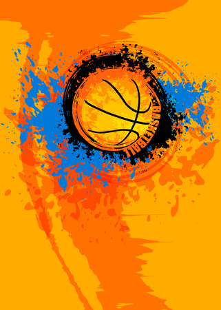 Design vertical template for basketball. Grunge ball. Abstract background for the game of the tournament. Sports poster for college banner. Bright spots and splashes.