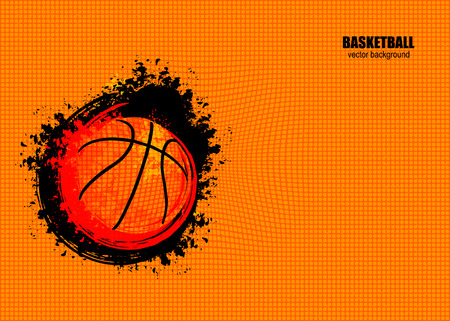 modèle de bannière horizontale pour le championnat de basket-ball. Abstract background 3d. illustration lumineux avec balle grungy.