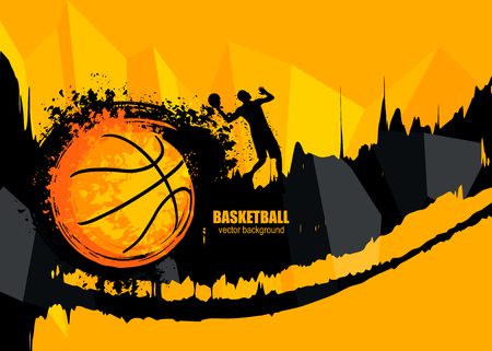Design banner template for basketball. The poster in grunge style with the player. Geometric, polygon background. Fiery ball. EPS file is layered. Иллюстрация