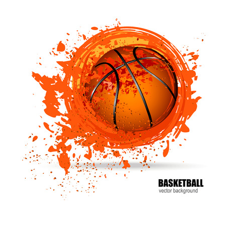 Vector illustration of basketball. The sporty design. Grunge ball. The spots and splashes. Template for poster, banner. Stock Illustratie
