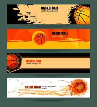 grunge banner: Set basketball banner. Web template. Grunge background polygon. EPS file is layered.