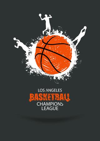 Design für die Basketballmeisterschaft. Fahne, Fliegerschablonensport. Grunge Kugel. Spieler im Basketball. Abstrakter Hintergrund. EPS-Datei ist geschichtet. Standard-Bild - 70445681
