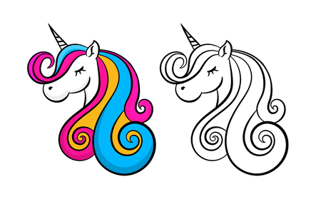 Color lovely unicorn,  outline, contour. Design for children, pink, yellow and blue hair.