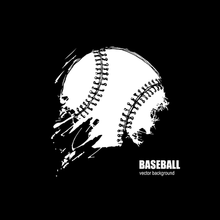 Baseball ball. Print on the T-shirt. Sport logo. Grunge background. Hand drawing. Sketch.