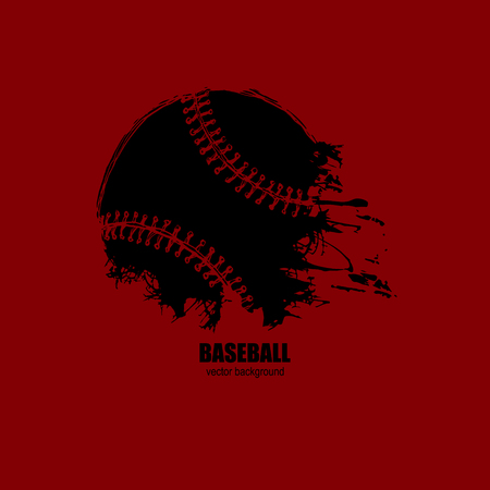 Baseball logo. Abstract black ball on a red background. Vector illustration on a T-shirt, poster, flyer, sports cover. Sketch, hand drawing. Grunge style. Dirty artistic design elements.
