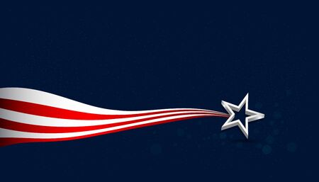 Vector Background USA for a holiday Memorial Day, Independence Day. Horizontal banner.