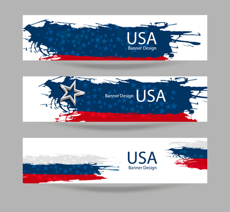 Vector banner with USA flag. Set of abstract backgrounds for a holiday Memorial Day, Independence Day. Collection of vector illustrations, wallpaper America. Grunge. Illustration