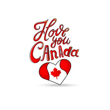 I love Canada, sign, Short phrase, heart, hand drawing, lettering on white background. Vector illustration Love symbol with flag of Canada. Illustration