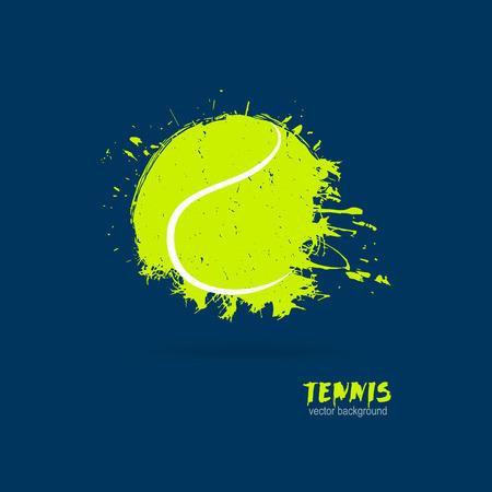 Pelota de tenis de la ilustración del vector (retro, grunge, aerosol). Diseño de impresión para camisetas. Elemento deportivo para el cartel, pancarta, volante.