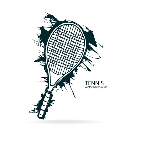 fitness equipment: Tennis rackets. Grunge style, sketch. Element of design for a poster, flyer, banner. Print on the T-shirt. Illustration