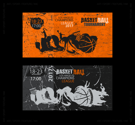 Set of basketball designs. Hand drawing, grunge style. A collection of sports banners, wall textures, flying ball, a sketch of players. EPS file is layered. Illustration