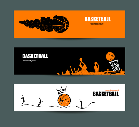 fitness equipment: Vector designs for basketball, a collection of sports flyers for the game, a tournament. Sketches. Hand drawing. Ball with crown.