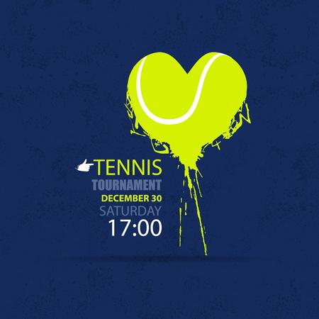 Vector illustration for tennis. Ball, shape heart, love. Grunge style.