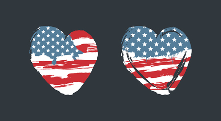 American flag in the shape of a heart, a symbol of the United States. Grunge style, hand-drawn.  イラスト・ベクター素材