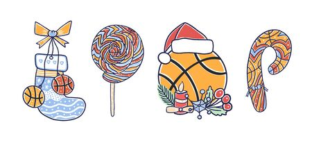 Collection of decorative Christmas illustration for basketball pictures for greeting cards, sports posters.