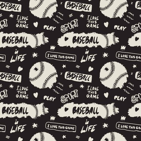 Abstract seamless pattern with baseballs and text. Sports background with lettering, slogan, grunge style. Design for children's textiles, t-shirts, poster. Hand drawing, doodles.