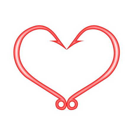 Fish hooks in heart shape Illustration