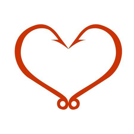 Icona rossa del cuore isolata su bianco. Ami a forma di cuore. Il concetto di amore per la pesca. Illustrazione vettoriale Vettoriali