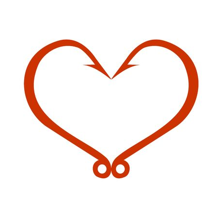 Red heart icon isolated on white. Fish hooks in heart shape. The concept of love of fishing. Vector Illustration.